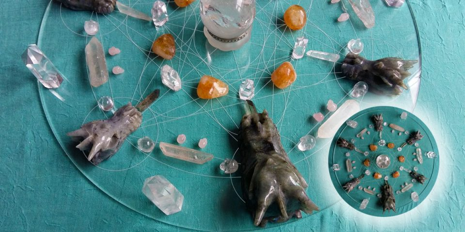 crystal dragon grid with detail